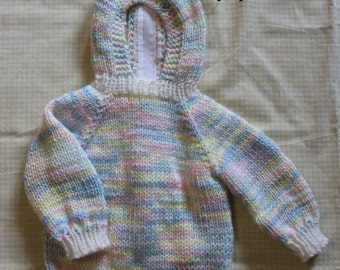 Hooded Knitted Baby Sweater with Back Zipper in Baby Colors