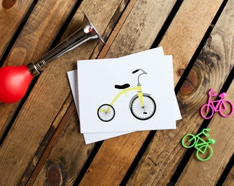 Bicycle Notecard #4 - Tricycle (stationery, blank interior, thank you, thinking of you, friendship)