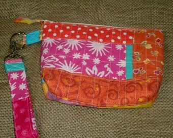 On Sale! Patchwork Wristlet, scrappy small wrist bag, quilted cosmetic case, zipper pouch, lanyard, key chain
