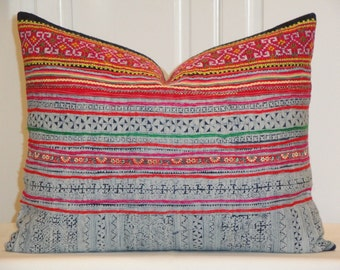 Hmong Pillow Cover - Vintage Tribal Decorative Pillow Cover -  Hemp Fabric - Pink Orange Green Embroidery - Accent Pillow - Toss Pillow