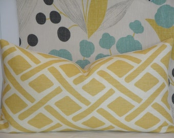 KRAVET - Treads In Sunflower - Decorative Pillow Cover - Yellow - Geometric - Lattice Pillow - Custom Cushion - Sofa Pillow