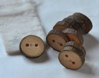 tree branch buttons • set of 9 poplar wooden buttons • wood button