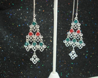 Large Christmas Trees on Sterling Ear Threads-FREE SHIPPING To U.S.- Threader Earrings/Necklace