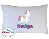 Rainbow Unicorn Pillow Case, Personalized
