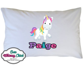 Rainbow Unicorn Pillow Case, Personalized