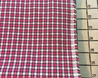 "Light to Medium Weight Woven Cotton Yarn Dyed Pink Black White Fabric 1 Yard X 60"" Wide #3939"