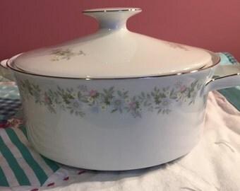 Vintage Serving Bowl with Lid Forever Spring Johann Haviland Bavaria Germany #3572 & #3874