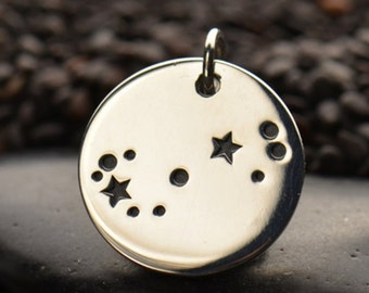 Scorpio - Sterling Silver Zodiac Constellation Disc Charm