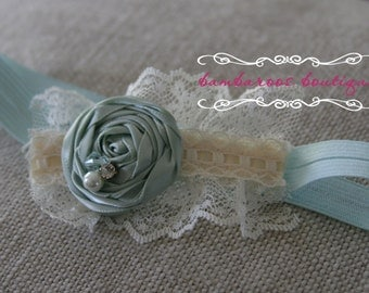 Aqua baby headband, light blue, Newborn photography prop, petite vintage rosette on lace, newborn headband, vintage headband, ivory headband
