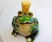 Frog Sculpture - Frog Prince - Pottery Animal - Hand Built Pottery - Frog Figurine