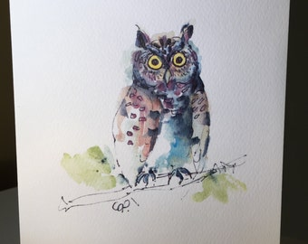 Set of Six Owl Watercolor Printed Cards / Hand Painted Watercolor Printed Cards