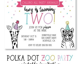 ZOO Party Animals Birthday Party Girls Polka Dot - Digital