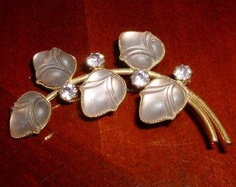 Vintage Amethyst Glass Cabochon Brooch Pin Amethyst Hand Set Rhinestones Flower Pin Glowing Opaque Glass