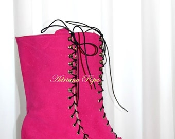 Fuchsia shoes Victorian Boots glittered Magenta leather Edwardian Boots Historical  Boots Purple Magenta Boots Fuchsia suede leather shoes