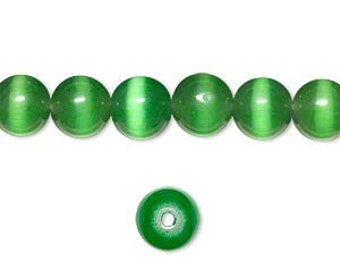 "50 Cat's Eye Glass 8mm Green Round Beads Fiber Optic 16"" Strand"