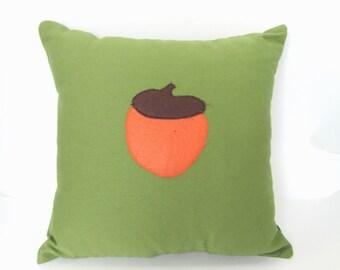 Green Acorn Fall Decor Pillow Applique Throw Pillow
