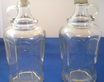 Vintage Glass Bottles**One with Cork and One Screw Top**Nalleys**