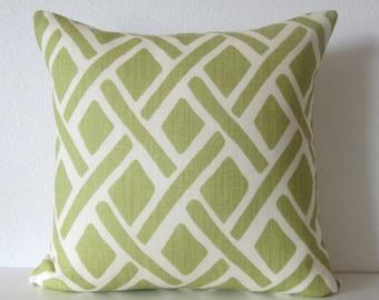 Tread New Leaf green lattice designer decorative pillow cover