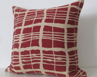 Red brown geometric stripes decorative pillow cover