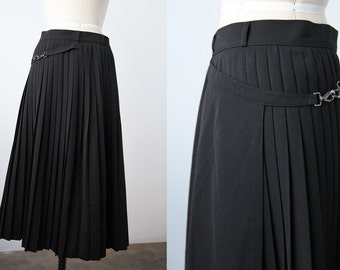 Vintage Avant Garde Black Pleated Skirt with Wrap Over Panel Comme des Garcons Yohji Yamamoto 80s M