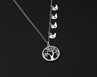 Mother Wife Gift,Monogram Tree Pendant,Personalized Jewelry,Tree of Life Charm with Bird Necklace, Silver Family Tree Jewelry