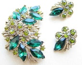 Vintage 1950s Demi-Parure Green and Mustard Yellow Brooch and Earing Set / 50s Rhinestone Pin and Clip Ons
