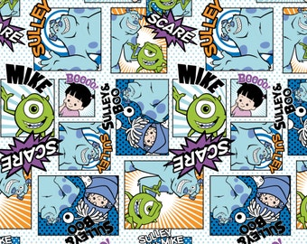 Monster Fabric~Fabric by the Yard~Flannel~Kids Fabric~Disney Flannel~Monster Flannel