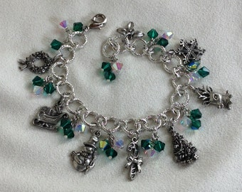 Convertible Christmas Charm Bracelet in Antique Silver with Emerald Green and Aurora Crystals