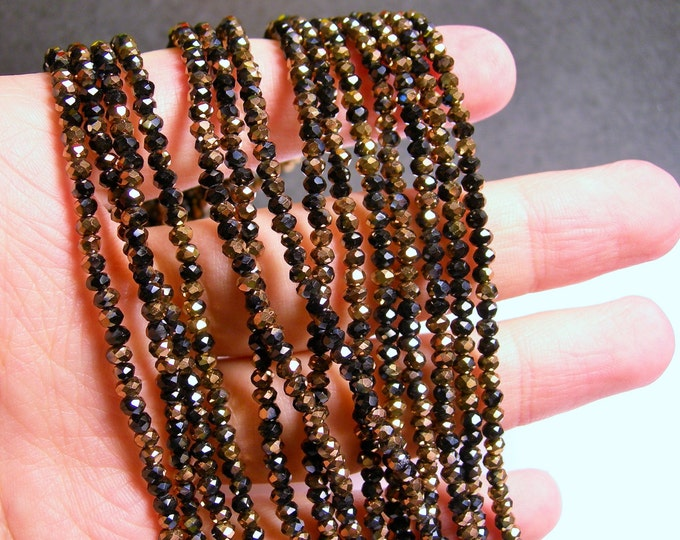 Crystal - rondelle faceted 3.5mm x 2.5mm beads - 140 beads -  dual tone black copper - full strand - CRV68