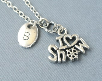 I love Snow Necklace, Snowflake Necklace, Winter Jewelry, Snow Necklace, Snow Initial Necklace, Initial hand stamped,