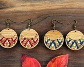 Textile & Wood Earrings in Oak with Bronze Finish Hardware - Womens Modern Statement Jewelry
