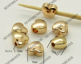 6 pcs Gold-plated Brass heart Charm Pendant Spacer, bracelet Connectors findings necklace loose bead findings
