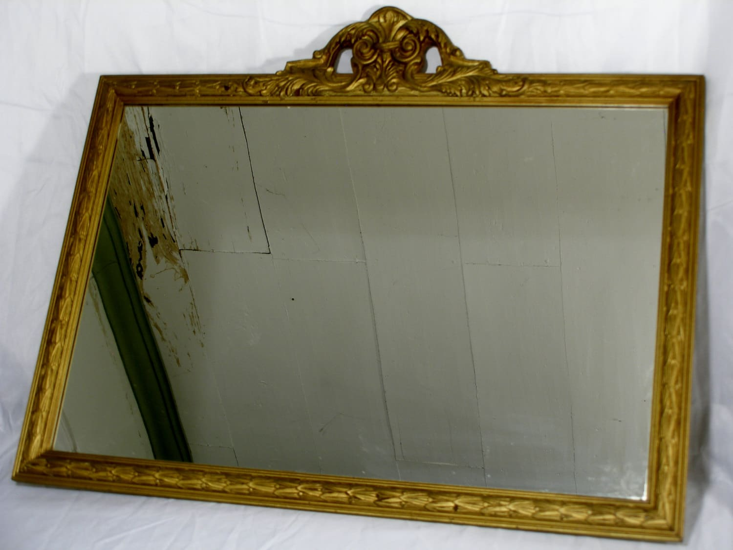 Vintage Gold Painted Mirror old glass antique home décor wheat