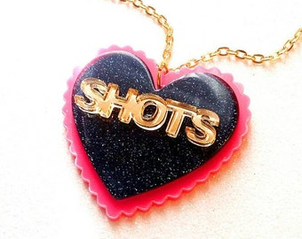 BACHLORETTE SHOTS-45 mm Black Glitter & Gold Mirror on Bubblegum Pink Laser Cut Acrylic Resin Pendant Word Heart Necklace.