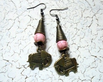 Pink and Brass Elephant Earrings (2670)