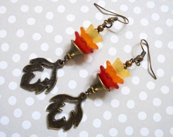Red, Orange and Yellow Flower and Leaf Earrings (2960)