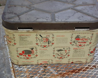 """Vintage Metal Bread Box with recipes on all 4 sides Brown Gravy Minted Miniature Eclairs Onion Soup and more made in USA  12 1/2 by 7 x 8"""""""
