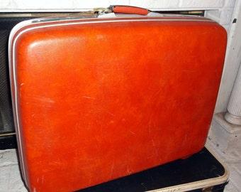 Vintage Large Orange Red Samsonite Sherbrook Suitcase Luggage