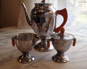 40s Bakelite/Chrome & Stainless Tea Set