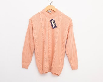 sweater 80s NOS vintage cable knit sweater salmon pink