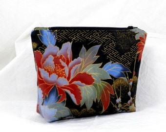 Bridesmaid Gift, Make Up Bag, Black and Orange, Cosmetic Bag, Clutch Purse, Blue Accents, Pouch Bag, Handmade Accessory,