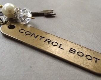 vintage ship key tag necklace, brass ship key tag pendant