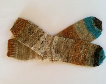 "Hand Knit Warm Women's Angora & Lurex Socks, Size 8-8.5 (9.5"" length), Knitted Angora Socks, Knitted Boot Socks, Leg Warmers, Knitted Socks"