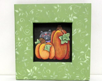 Autumn Pumpkins and Black Cat, Orange Pumpkins, Folk Art, Halloween, Tole or Hand Painted on Black Screen, Reclaimed Hand Crafted Wood Frame