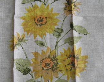Vintage VERA Neumann Linen Tea Towel Sunflowers Flowers Floral, Ladybug Logo