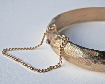 Bangle Bracelet, Gold Overlay, Hayward Jewelry, Sterling Silver, Textured Bamboo, 1950s, Clamper Bracelet, Vintage Japan