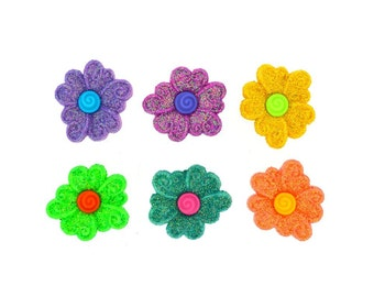 Jesse James Novelty Craft  Buttons Button  Embellishments Pure Sugar Glitter Flowers Shank