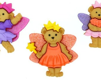 Jesse James Button Fairy Bears Novelty Buttons Teddy Bears Fairies
