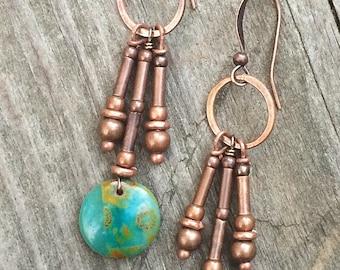 Green earrings, copper dangle earrings, drop earrings, boho earrings, boho jewelry, green jewelry