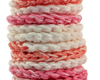 Crochet Face Scrubbies ~ cotton rounds in variegated pink, orange and white